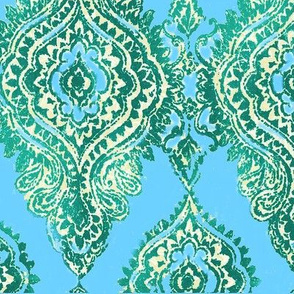 Teal & Turquoise Damask