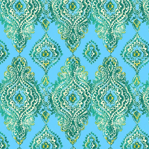 TEAL & TURQUOISE GOLD DAMASK