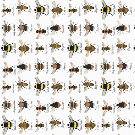 I'm going on a bee hunt // orientated for tea towels fabric by ruth_robson on Spoonflower - custom fabric