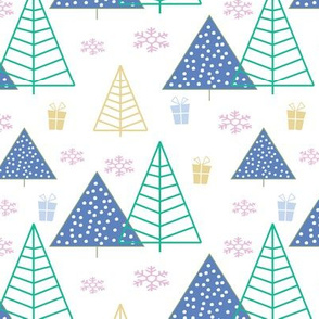 Christmas Trees blue polka dots