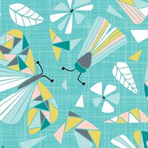 Fractal Flutter - Aqua Blush Extra Large Scale
