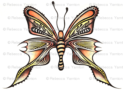 Watercolour Butterfly Browns _ Yellows - 0002