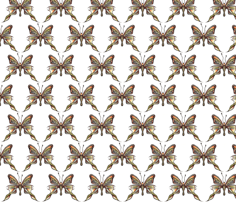 Watercolour Butterfly Browns _ Yellows - 0002 fabric by daisyspiderart on Spoonflower - custom fabric