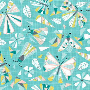 Fractal Flutter - Aqua Blush Large Scale