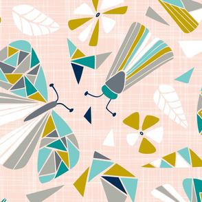 Fractal Flutter - Pink Blush Extra Large Scale
