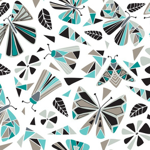 Fractal Flutter - Black & Aqua Large Scale