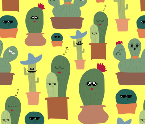 Cactus Emotions fabric by buco_parade on Spoonflower - custom fabric