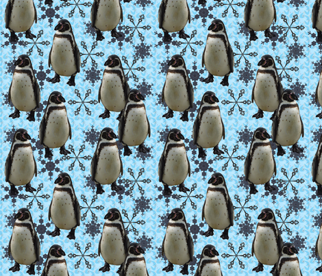 arctic pinguin and snowflakes fabric by sewingfever on Spoonflower - custom fabric