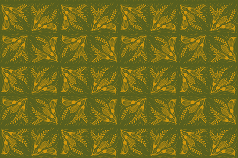 Kowhai 3 honey green fabric by coppercatkin on Spoonflower - custom fabric