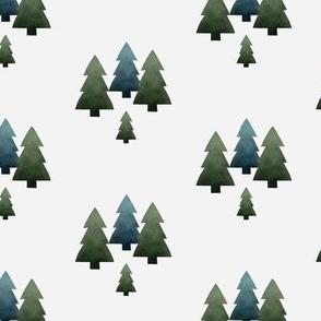 Pine trees white