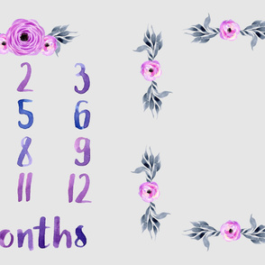 watercolor floral milestone blanket