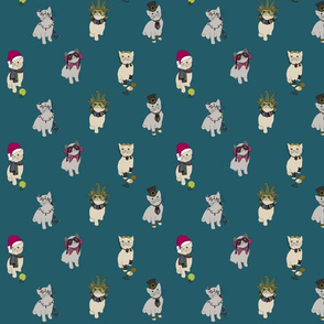Fabric cats 1 turquoise