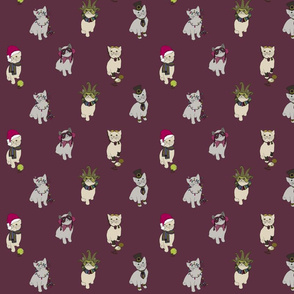 Fabric cats 1 dark magenta