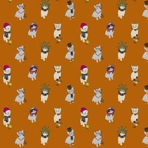 Fabric cats 1 burnt orange