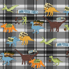 Dinosaurs on greyscale plaid