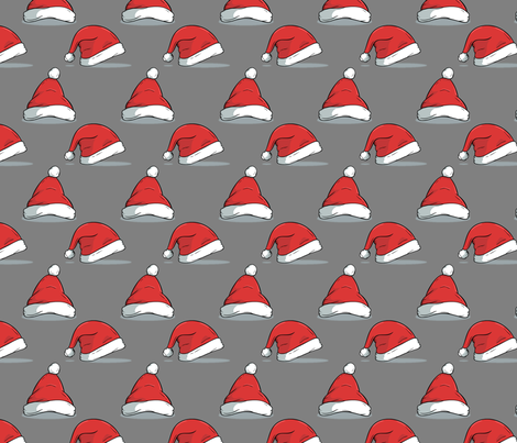 Christmas santa hats on gray fabric by littlefancypants on Spoonflower - custom fabric