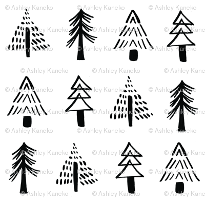 ink+ash Black + White Minimalist Holiday Trees