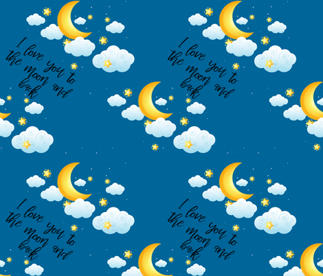 I love you to the moon and back blue fabric by littlefancypants on Spoonflower - custom fabric