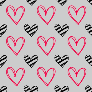 Pink and Black scribble hearts