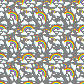 Shiny retro rainbows and clouds on gray