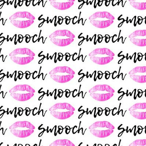 smooch - hot pink and black on white- kissy lips fabric