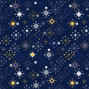 Geometric Snowflakes - Navy