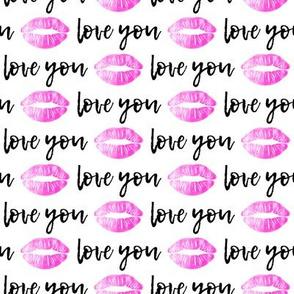 love you - black & hot pink - kiss