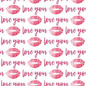 love you - dark pink - kiss