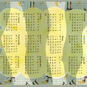 Calendar tea towel puppet design