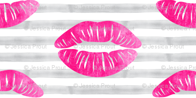 kisses on stripes (pink & grey)