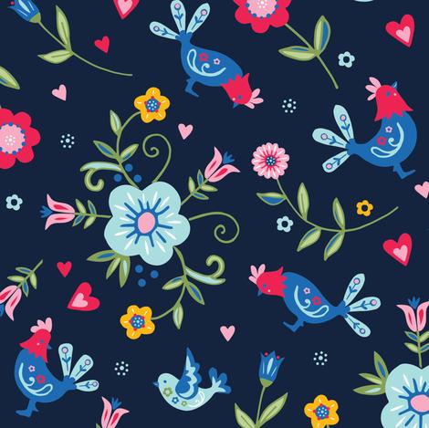 Scandi Folk Chickens Pattern Dark fabric by angie_spurgeon on Spoonflower - custom fabric