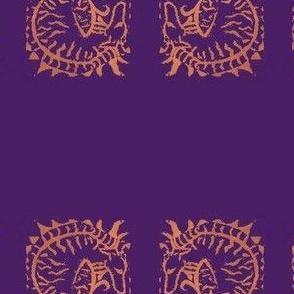 Curled brindle Hound Block print_PurpleOnOrange