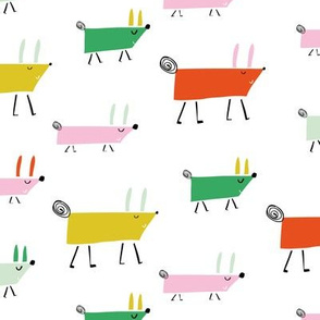 Dogs marching colourful pattern Larger Scale kids print illustration