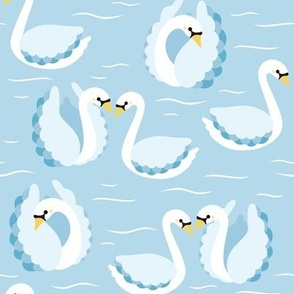 swans on blue