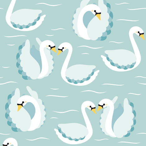 swans on mint fabric by heleenvanbuul on Spoonflower - custom fabric
