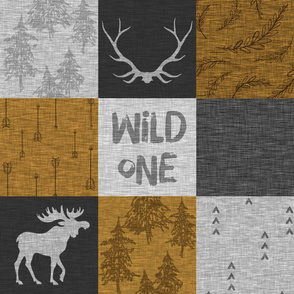 Wild One Quilt - gold, grey and black - moose, bear, antlers