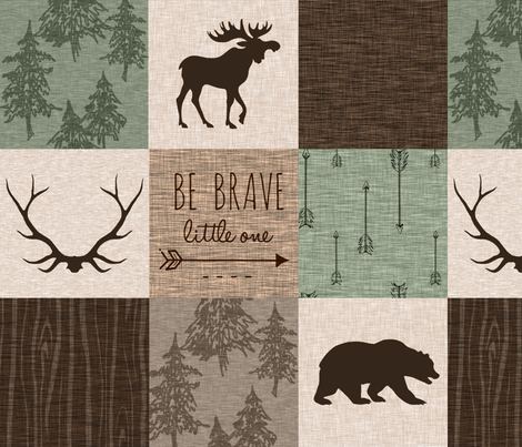 Be Brave Quilt - green and brown - little one - woodland fabric by sugarpinedesign on Spoonflower - custom fabric