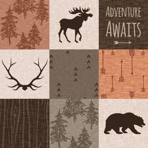 Adventure Awaits - Rust, Brown, Vanilla - bear, moose, antlers