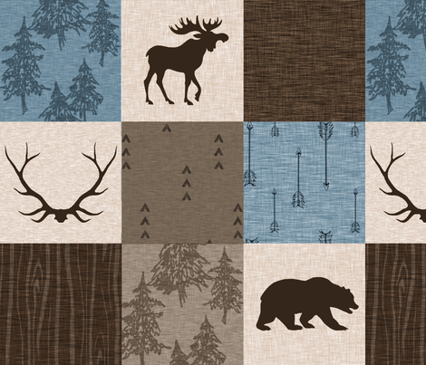 Man Quilt - blue, brown, cream fabric by sugarpinedesign on Spoonflower - custom fabric