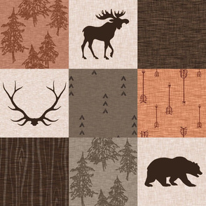 Man Quilt - Hunting - Orange, Rust, Brown - bear, moose, antlers