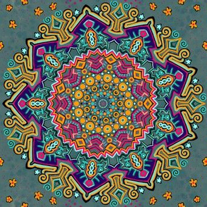Project 429 | Colorful Mandala on Sage Green