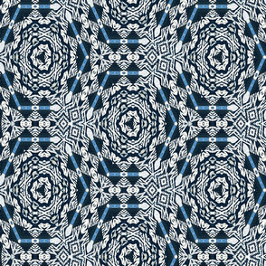 woven blue white hexagons