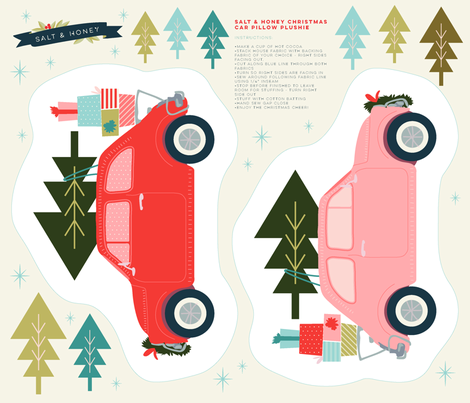 Cut and Sew Christmas Car Plushie fabric by acdesign on Spoonflower - custom fabric