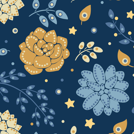 Succulents at night fabric by elena_naylor on Spoonflower - custom fabric