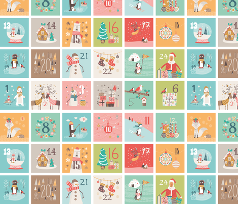Advent Calendar fabric by martamunte on Spoonflower - custom fabric