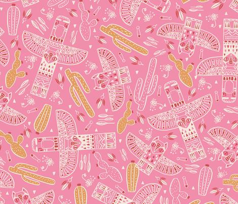 Tribal totem pink fabric by martamunte on Spoonflower - custom fabric