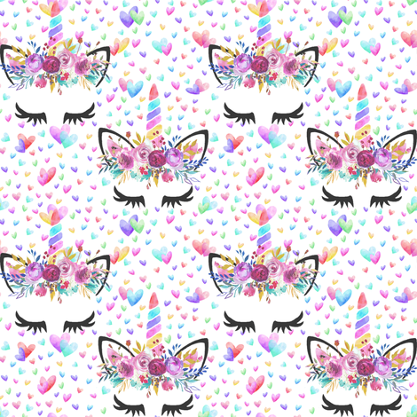 "2.5"" valentines unicorns fabric by lil'faye on Spoonflower - custom fabric"