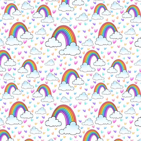 Rainbows and Clouds white fabric by lil'faye on Spoonflower - custom fabric