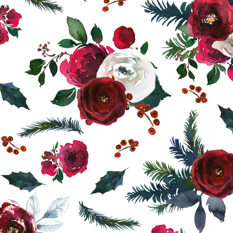 Vintage Christmas Florals fabric by lil'faye on Spoonflower - custom fabric