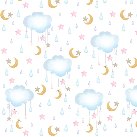 clouds stars moon fabric by amelierainfall on Spoonflower - custom fabric